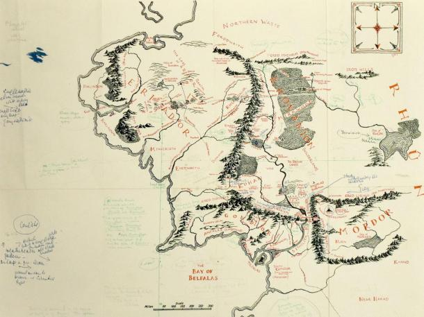 Tolkien's own copy of the Middle Earth map with annotations